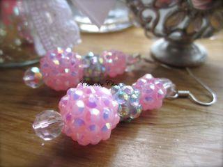 Pink Diamante Shamballa Bead Swarovski Crystal Necklace Pendant Chain
