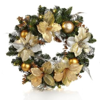"""Winter Lane Battery Operated 24"""" LED Glitzy Wreath with Ornaments at"""