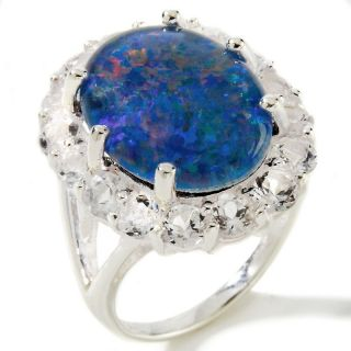 Opal Triplet and White Topaz Sterling Silver Oval Ring at