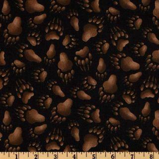 Elizabeth Studio, 189 E Black Bear Paw Prints, 1/2 YD Fabric