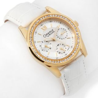 Caravelle Bulova Ladies Goldtone White Leather Strap Watch
