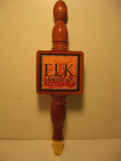 Elk Mountain Amber Ale Beer Logo Tall Finished Wood Tap Handle