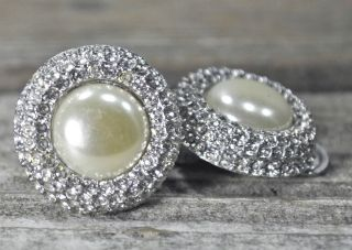Gorgeous Vintage Silver Pearl Crystal Clip on Earrings Costume Jewelry
