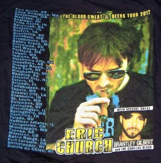 Eric Church 2012 The Blood Sweat & Beers Tour Concert T shirt XXL
