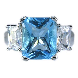 Emerald Cut 3 Stone London Blue Topaz Ring Size 6