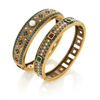 Heidi Daus Daily Double Set of 2 Crystal Accented Bangle Bracelets