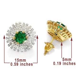Russian Jewelry Diamond Emerald Earrings 14k Gold