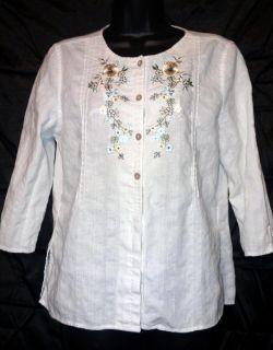 Erika Petite Linen Cotton Embroider White Floral Tunic Top Blouse
