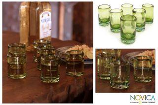 Lime Salt Set of 6 Artisan Hand Blown Green Shot Glasses Novica Mexico