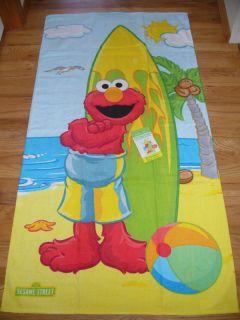 New Sesame Street Elmo Surfboard Beach Bath Towel Plush