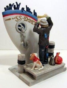 Emmett Kelly Jr Bon Voyage Boat Clown Figurine Signed RARE Collectible