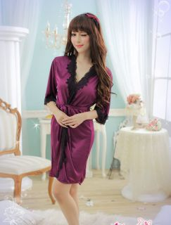 Purple Sexy Intimate Clothes Woman Bath Robe Blouse Camisoles Dress