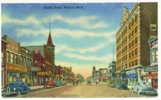 Holland MI Eighth Street Shops Cars 1946 Curt Teich Linen Post Card