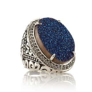 Hillary Joy Cobalt Blue Drusy and White Topaz Sterling Silver French