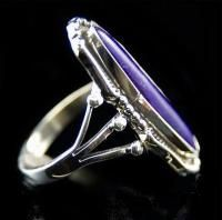 Sterling Silver Purple Sugilite Elongated Oval Womens Ring 9