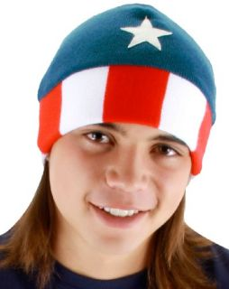 New Elope Men s Captain America Beanie Hat Red White Blue One Size