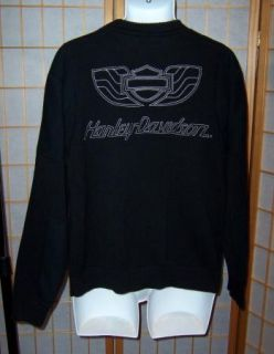 Harley Davidson Sz XL Black Crewneck Motorcycle Heavy Sweater