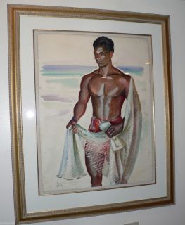 Color Painting Robert Lee Eskridge 1891 1975 Hawaiian Fisherman