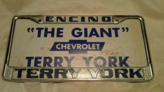Encino Terry York Chevrolet Dealership Metal License Plate Frame