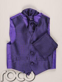Boys Purple Waistcoat Cravat Handkerchief Set Wedding Prom Christening