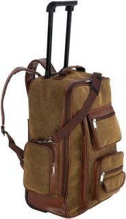Travel Gear Faux Leather Rolling Backpack, Carry On Luggage Bookbag