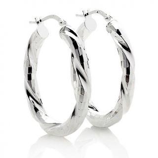 Italian Silver Sterling Silver Diamond cut Twist Hoop Earrings
