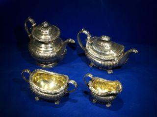 Sterling Silver Tea Coffee Set LONDON1820 Rebecca Emes Edward