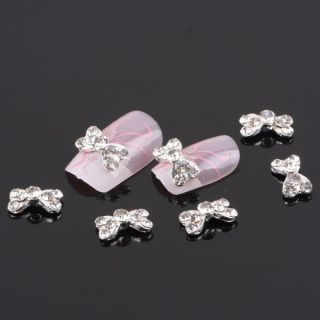 Wholesale 50pcs Bow Tie Alloy 3D Clear Rhinestone Nail Art Slices DIY