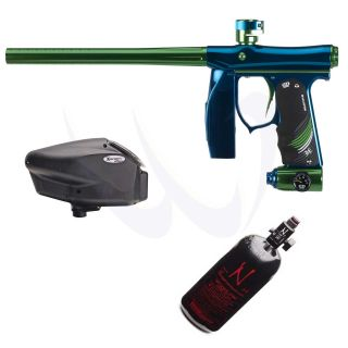 Empire Mini SE Blue Green Electronic Paintball Gun + Halo Too + Ninja