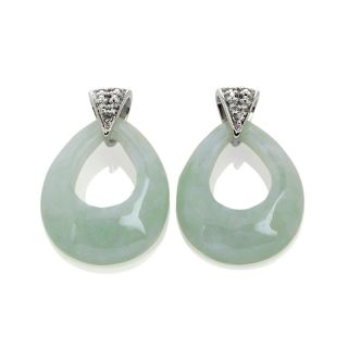 Sterling Silver Pear Shaped Green Jade Earrings with Diamond Accents