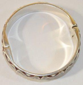 BRIGHTON Silver Red Crystal Hearts ENCANTO Clamp Bangle Bracelet