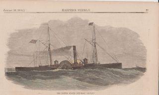 States Civil War Gun Boat Eutaw 1864 Hand Colored Engraving