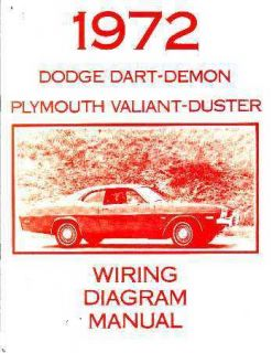 1972 Dodge Dart Duster Valiant Electrical Wiring Diagram Schematic