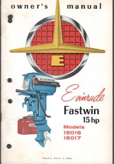 1956 Evinrude Fastwin 15 HP Outboard Owners Manual Nice New