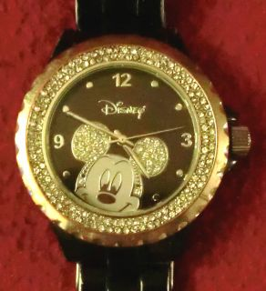 Ewatchfactory Womens 56270 1B Disney Mickey Mouse Black Enamel Sparkle