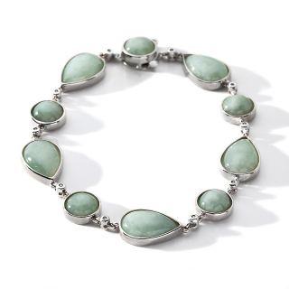 Sterling Silver Pear Shaped Green Jade Line Bracelet