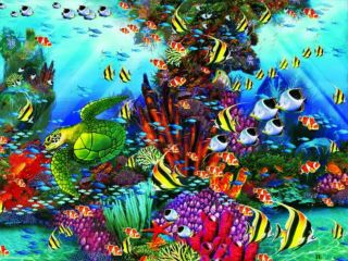 Seascape Turtle Fish Art John Enright  1500 Pc Jigsaw Puzzle Ceaco NEW