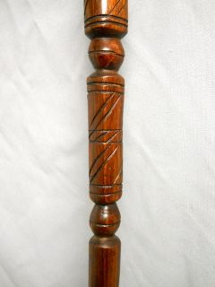 African Wooden Hand Carved Walking Cane Stick Elephant   Man 36 Brown
