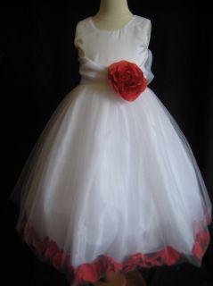 Persimmon Rose Petal Flower Girl Dress 6 9 12 18 MO 2T 3T 4T 5 6 7 8