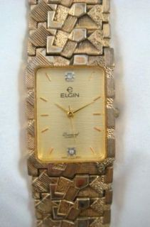 Vintage Elgin Diamond Quartz Mens Dress Wrist Watch Japan Movement