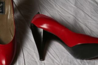 Womens Vintage 80s Van Eli Red Black Leather Heels Pumps Shoes Sz 8 5