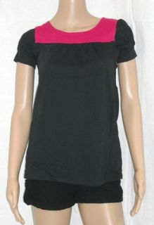 erik stewart cap slv tunic top black with red s