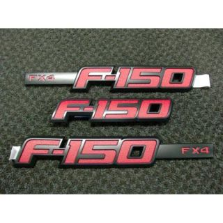 2012 12 F 150 F150 OEM Genuine Ford Parts RED FX4 Emblem Set NEW