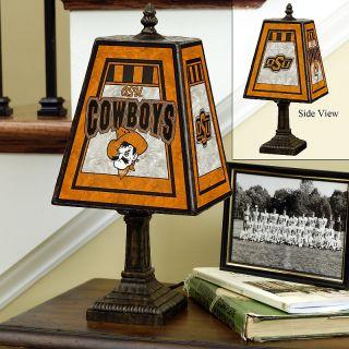 109 5405 handpainted art glass college team table lamp oklahoma state