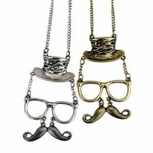 Moustache Mustache Glasses Cowboy Hat Hinged Magic Face Pendant