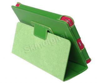 For Kobo Vox Tablet eReader Green GENUINE LEATHER Case Cover + Screen