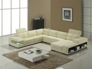 Modern Contemporary Cream Leather Sectional Sofa w Light & Storage