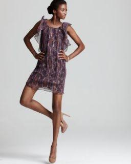 Ella Moss New Multi Color Silk Ruffled Shift Cocktail Evening Dress L
