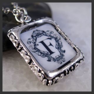 Initial Letter F Vintage Silver Square Setting Charm Pendant Necklace