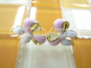 3D White Pink Butterfly Bow Fake Ear Plugs Enamel Earrings Stud 508